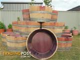 wine barrels half planters