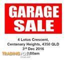 Huge garage sale Centenary Heights Toowoomba 3rd Dec 2016 7.00am