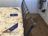 ELEGANT WROUGHT IRON QUEEN BED, BASE/MATTRESS, EXCELL. CONDITION