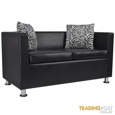 Artificial-Leather-2-Seater-Leather-Sofa-Black