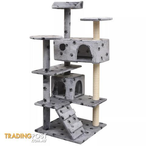 c4e911c8b6bd 125 Cm Cat Tree With Sisal Scratching Posts Paw Prints - Grey