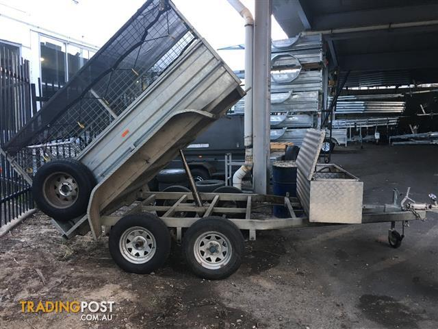 8x5 galvanised tandem caged hydraulic tipping box trailer