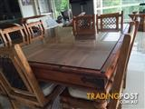 8 Seat Square Solid Teak Table incl Chairs & 2 x Matching Coffee Tables