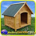 Peaked gable roof Timber Dog Kennel Log Wooden Cabin Pet House Fir wood Outdoor - Still in Box