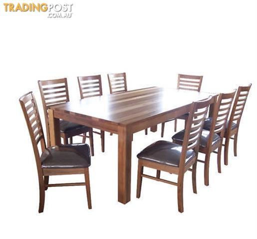 QLD HARDWOOD SPOTTED GUM IRONBARK TIMBERS 2100 X 1050 TABLE AND 8 CHAIRS