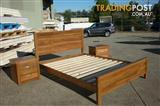 CLOSING DOWN QUEENSLAND HARDWOOD SPOTTED GUM, IRONBARK 4PC QUEEN BEDROOM SUITE