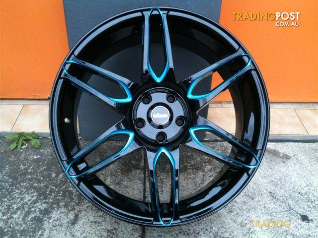 King Camino Black Piped Blue 20 Inch Alloy Wheels