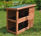 Double Story Rabbit Chook Guinea Pig Ferret Hutch House Cage Coop