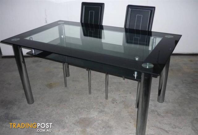 Brand New Glass Dining Table 130cm 4 Chairs T09 30B 130