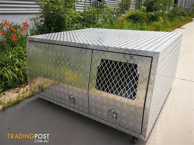 Dual Cab Checker Plate Alloy Canopy With Half Width Dog Box 2 Doors