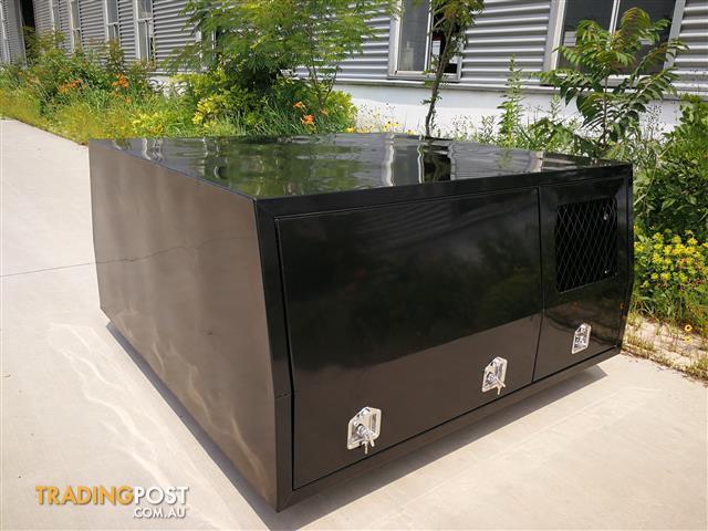 Dual Cab Black Powder Coated Alloy Canopy With Half Width Dog Box 2