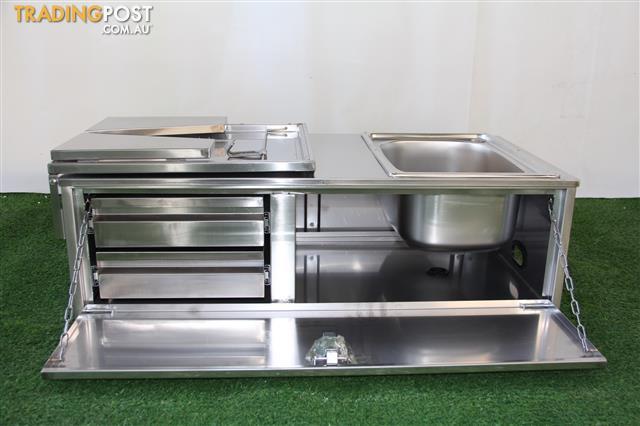 Stainless Steel Camper Trailer Kitchen  Drawers Sink Interchangable Shelf