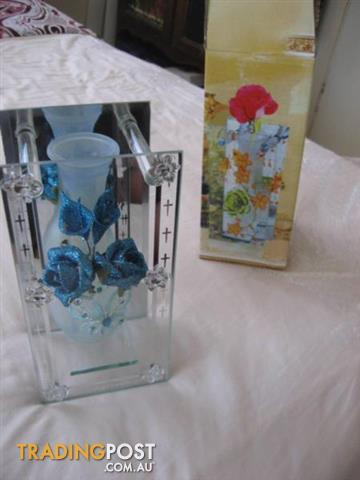 Glass Vase And Blue Flower