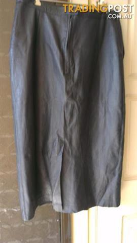 Dark gray Skirt under knee length - Luxury soft leather