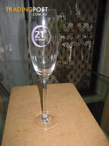 "Happy 21st Birthday"" Champagne Clear Glass"