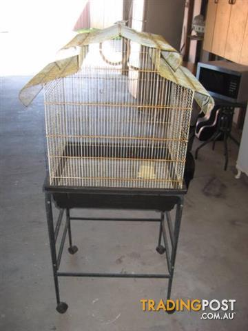 Large Bird Cage on Wheeled Stand