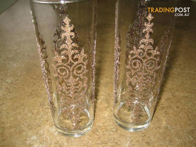 2 Nice Hand Decorated Glitter Glass $5 both