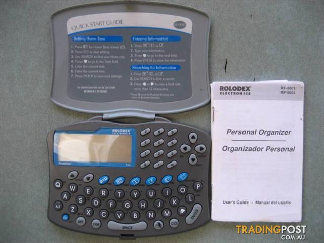 Pocket Organizer Electronic Rolodex RF 8001/RF 8003-user guide