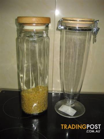 Tall Glass Jar Display Canister Pasta Spaghetti- $15 both