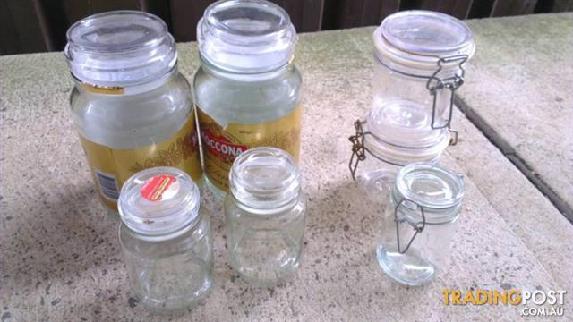 8 Jars glass and plastic All for $15