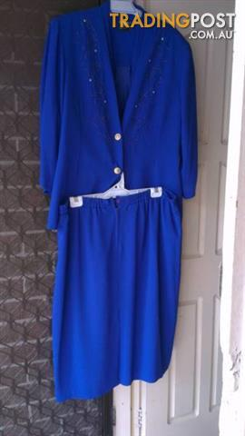 DOLINA exclusive Royal blue women set jacket and skirt sz 22
