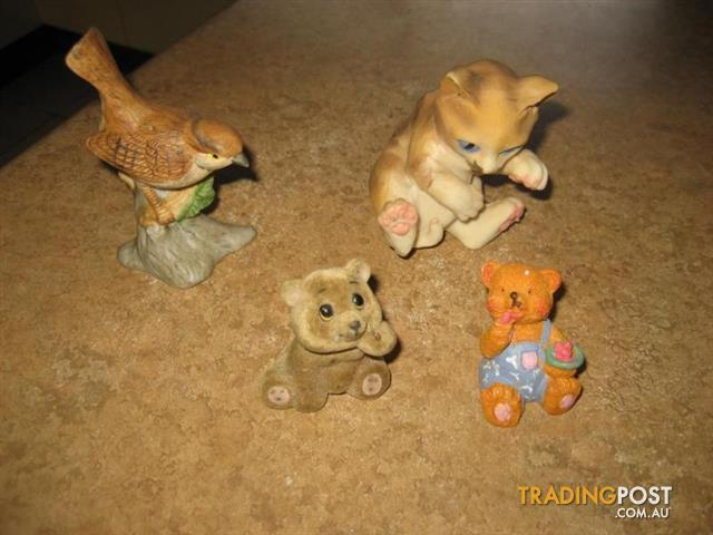 4 Antique figurine bird ,cat and bear