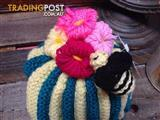 Hand-knitted Bee & Flowers Tea Cozy/Baby Beanie - Geelong