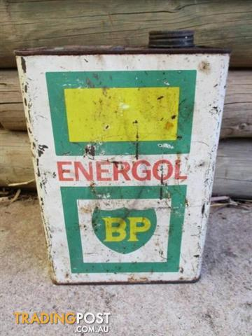 Vintage BP ENERGOL PETROL TIN Gas CAN advertising 1 gal