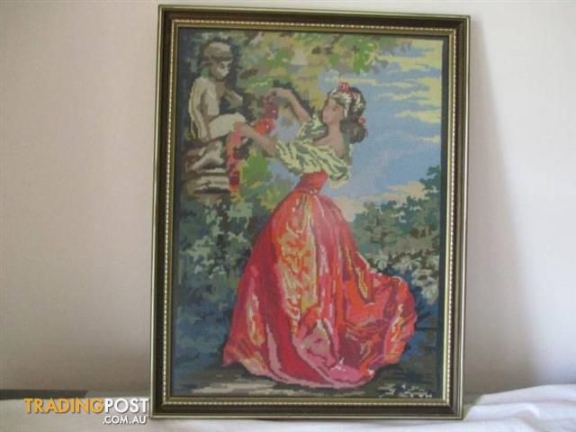 Large TAPESTRY FRAMED Lady in Garden wooden Hanging Glass FRAME