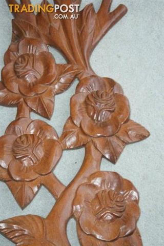 Vintage Wood CARVING Flower WALL DECORATION KITSCH