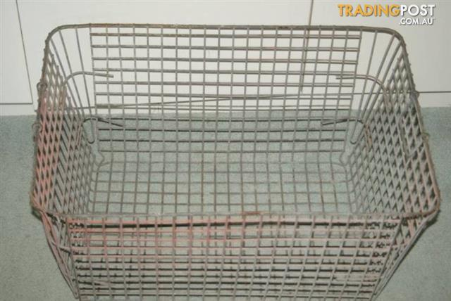 VINTAGE galvanized WIRE BASKET W- handles INDUSTRIAL metal CRATE