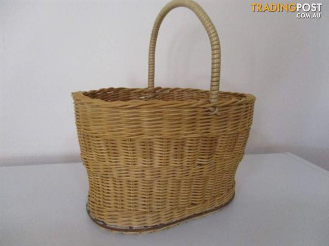 CANE WICKER BASKET Vintage