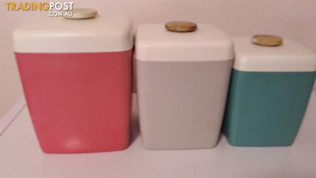 Vintage Retro Nally Canisters Set 3 NALLYWARE HARLEQUIN KITCHEN