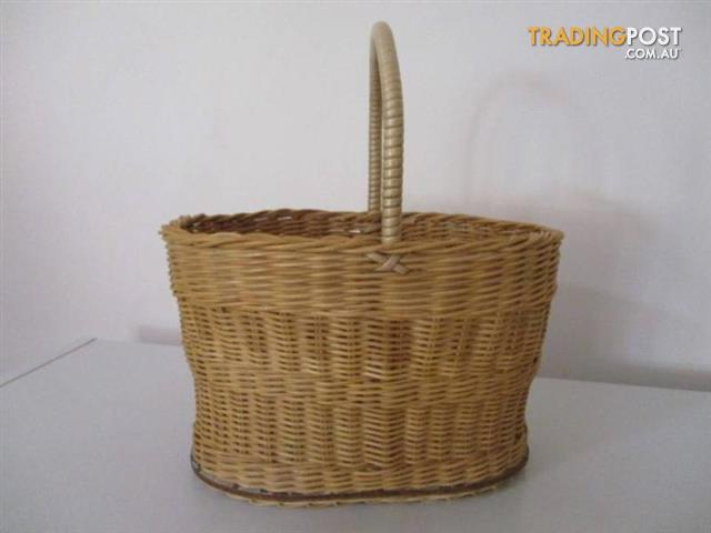 Vintage Cane woven WICKER BASKET Shopping Carry