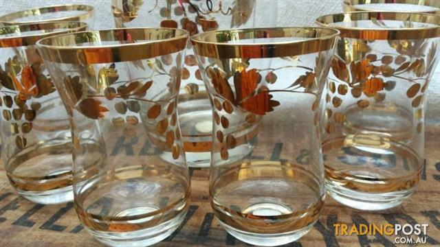 Vintage ROMANIAN GLASS Wine DECANTER & GLASSES