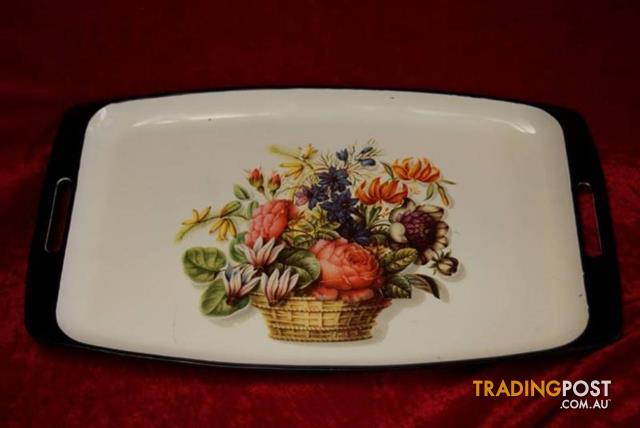 VINTAGE RETRO JAPANESE FLORAL SERVING TRAY