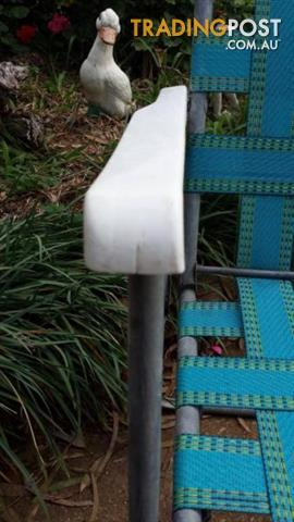 Vintage Retro ALUMINIUM WEBBED SEAT OUTDOOR SUN SEAT BLUE Mesh