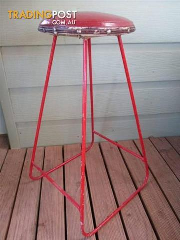 RETRO Vintage STOOL Metal stool Red vinyl SEAT