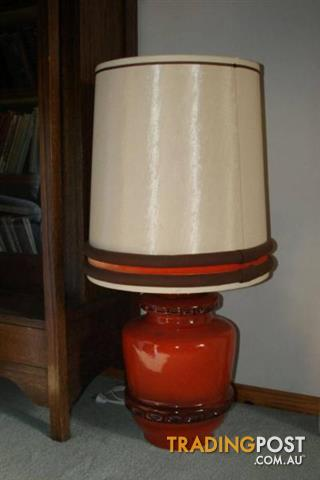 VINTAGE TABLE LIGHT & SHADE ORANGE Brown ? German