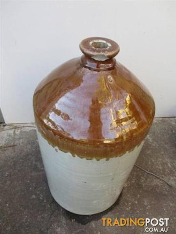 Large Vintage STONEWARE Demijohn JAR BOTTLE flagon brown