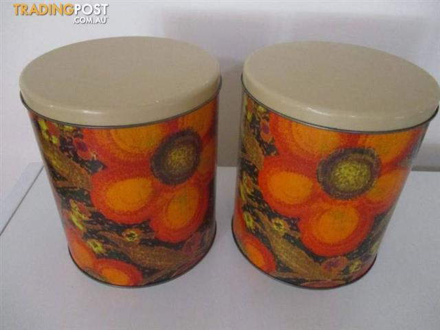 Set 2 Vintage WILLOW CANISTERS Tins RETRO Orange Flower Power