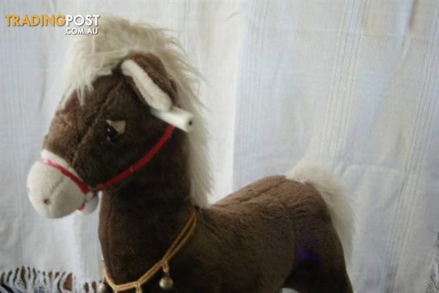 Vintage ROCKING HORSE Soft Fur Fabric Horse Metal Frame Bells