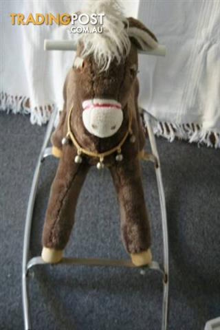 Vintage ROCKING HORSE Soft Fur Fabric Horse Metal Frame Bells