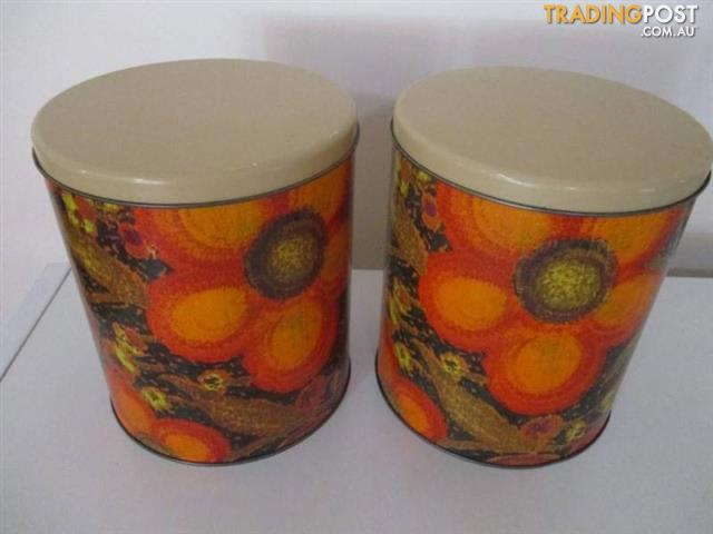 Vintage WILLOW CANISTERS Tins RETRO
