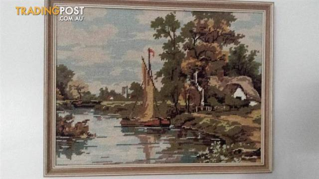 Framed TAPESTRY Picture Sailing Boat