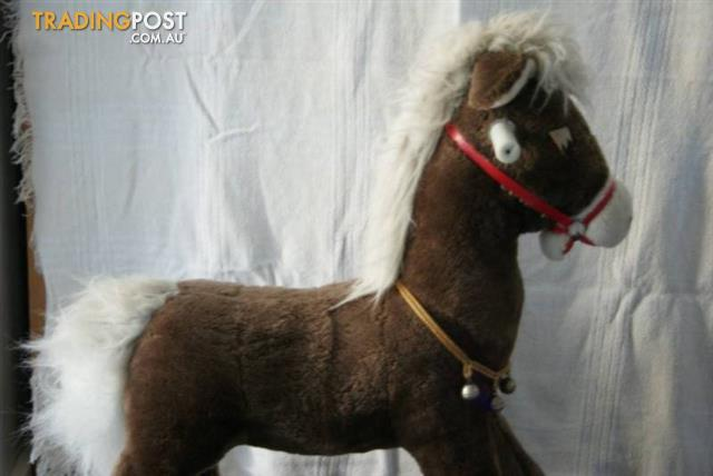 ROCKING HORSE Soft Fur Fabric Horse Metal Frame