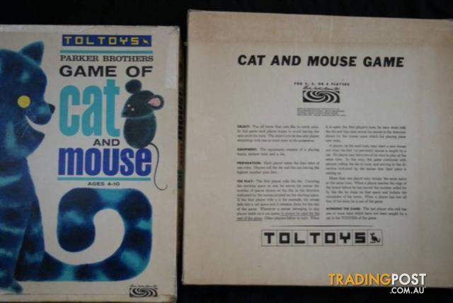 Vintage Parker Brothers TOLTOYS Board GAME of CAT & MOUSE 1964