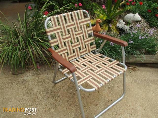 Vintage Retro ALUMINIUM WEBBED chair OUTDOOR SEAT