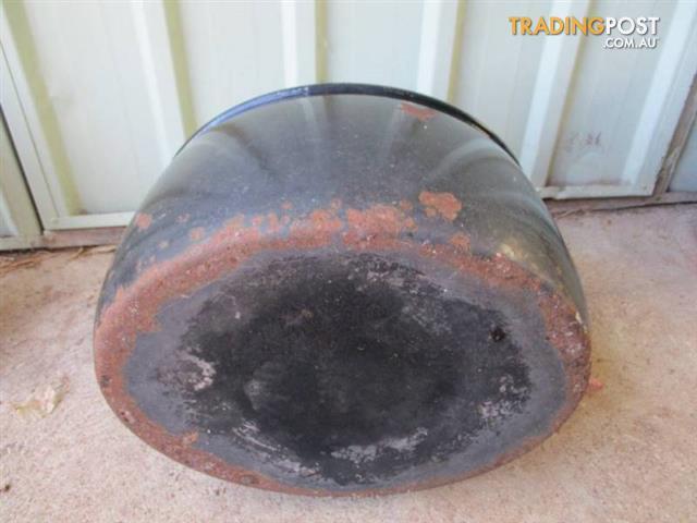 Vintage BLACK COOKING POT Cast Iron Enamel Display piece