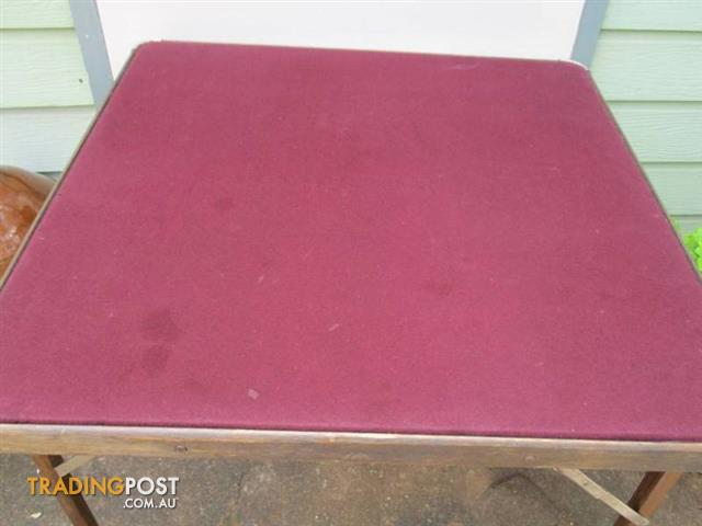 Vintage Antique FELT TOP FOLDING Games CARD TABLE wooden framE